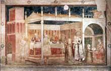 Giotto : Scènes de la vie de saint Jean Baptiste: le banquet d'Hérode. 1320. Fresque, 280 x 450 cm. Florence, Santa Croce, Chapelle Peruzzi