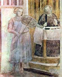 Giotto : Scènes de la vie de saint Jean Baptiste: le banquet d'Hérode, détail: musicien accompagnant Salomé. 1320. Fresque. Florence, Santa Croce, Chapelle Peruzzi