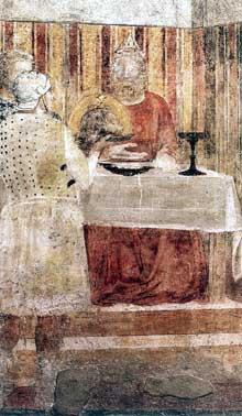 Giotto : Scènes de la vie de saint Jean Baptiste: le banquet d'Hérode, détail. 1320. Fresque. Florence, Santa Croce, Chapelle Peruzzi