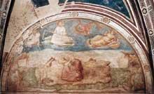 Giotto : Scènes de la vie de saint Jean l'Evangéliste: saint Jean à Patmos. 1320. Fresque, 280 x 450 cm. Florence, Santa Croce, Chapelle Peruzzi