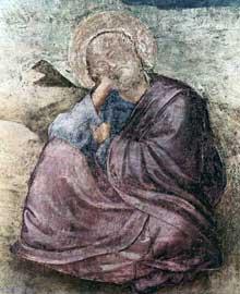 Giotto : Scènes de la vie de saint Jean l'Evangéliste: saint Jean à Patmos, détail. Fresque, 89 cm de large. Florence, Santa Croce, Chapelle Peruzzi