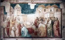 Giotto : Scènes de la vie de saint Jean l'Evangéliste: la résurrection de Drusiana. 1320. Fresque, 280 x 450 cm. Florence, Santa Croce, Chapelle Peruzzi