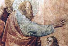 Giotto : Scènes de la vie de saint Jean l'Evangéliste: la résurrection de Drusiana, détail. 1320. Fresque. Florence, Santa Croce, Chapelle Peruzzi