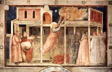 Giotto : Scènes de la vie de saint Jean l'Evangéliste: l'ascension de l'évangéliste. 1320. Fresque, 280 x 450 cm. Florence, Santa Croce, Chapelle Peruzzi