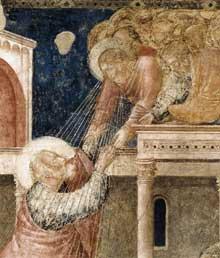Giotto : Scènes de la vie de saint Jean l'Evangéliste: l'ascension de l'évangéliste, détail. 1320. Fresque. Florence, Santa Croce, Chapelle Peruzzi
