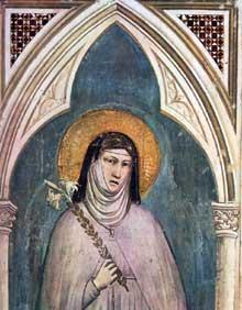Giotto : Sainte Claire, détail. 1325. Fresque, 230 x 70 cm. Florence, Santa Croce, chapelle Bardi
