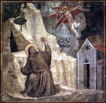 Giotto : Scènes de la vie de Saint François: saint François reçoit les stigmates. 1325. Fresque, 390 x 370 cm. Florence, Santa Croce, chapelle Bardi