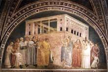 Giotto : Scènes de la vie de Saint François: saint François renonce aux biens terrestres. 1325. Fresque, 280 x 450 cm. Florence, Santa Croce, chapelle Bardi