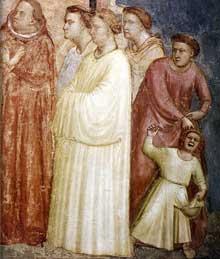 Giotto : Scènes de la vie de Saint François: saint François renonce aux biens terrestres, détail. 1325. Fresque. Florence, Santa Croce, chapelle Bardi