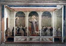 Giotto : Scènes de la vie de Saint François: apparition à Arles. 1325. Fresque, 280 x 450 cm. Florence, Santa Croce, chapelle Bardi
