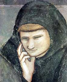 Giotto : Scènes de la vie de Saint François: apparition à Arles, détail. 1325. Fresque, 25 cm de large. Florence, Santa Croce, chapelle Bardi