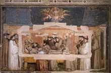 Giotto : Scènes de la vie de Saint François: la mort et l'ascension de saint François. 1325. Fresque, 280 x 450 cm. Florence, Santa Croce, chapelle Bardi