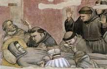 Giotto : Scènes de la vie de Saint François: la mort et l'ascension de saint François, détail. 1325. Fresque. Florence, Santa Croce, chapelle Bardi