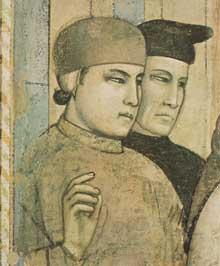 Giotto : Scènes de la vie de Saint François: la mort et l'ascension de saint François, détail. 1325. Fresque, 33,5 cm de large. Florence, Santa Croce, chapelle Bardi