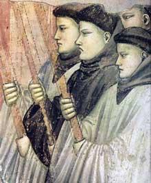 Giotto : Scènes de la vie de Saint François: la mort et l'ascension de saint François, détail. 1325. Fresque, 58,5 cm de large. Florence, Santa Croce, chapelle Bardi