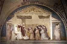 Giotto : Scènes de la vie de Saint François: confirmation de la règle. 1325. Fresque, 280 x 450 cm. Florence, Santa Croce, chapelle Bardi