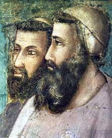 Giotto : Scènes de la vie de Saint François: confirmation de la règle, détail. 1325. Fresque, 29 cm de large. Florence, Santa Croce, chapelle Bardi