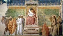 Giotto : Scènes de la vie de Saint François: François devant le sultan. 1325. Fresque, 280 x 450 cm. Florence, Santa Croce, chapelle Bardi