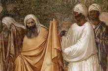 Giotto : Scènes de la vie de Saint François: François devant le sultan, détail. 1325. Fresque, 280 x 450 cm. Florence, Santa Croce, chapelle Bardi