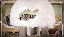 Giotto : Scènes de la vie de Saint François: l'apparition au frère Augustin et à l'évêque d'Assise. 1325. Fresque, 280 x 450 cm. Florence, Santa Croce, chapelle Bardi