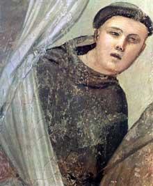 Giotto : Scènes de la vie de Saint François: l'apparition au frère Augustin et à l'évêque d'Assise, détail. 1325. Fresque, 34,5 cm de large. Florence, Santa Croce, chapelle Bardi