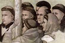 Giotto : Scènes de la vie de Saint François: l'apparition au frère Augustin et à l'évêque d'Assise, détail. 1325. Fresque. Florence, Santa Croce, chapelle Bardi
