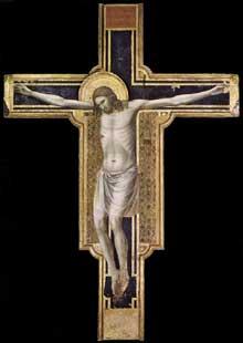 Giotto : Crucifix. 1310-1317. Tempera sur bois, 430 x 303 cm. Rimini, Temple de Malatesta