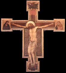 Giotto : Crucifix. 1330s. Tempera sur bois, 343 x 432 cm. Florence, San Felice