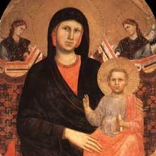 Giotto : Madone et enfant, détail. 1295-1300.Tempera sur bois, 180 x 90 cm. Florence, San Giorgio alla Costa