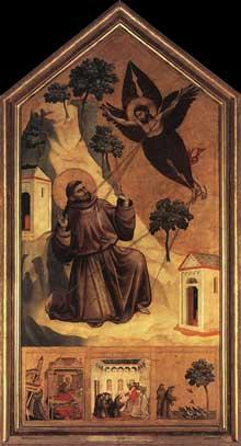 Giotto : La stigmatisation de saint François. 1300. Tempera sur bois, 314 x 162 cm. Paris, Musée du Louvre