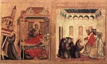 Giotto : Stigmatisation de saint François, détail: le rève d'InnocentIII et l'approbation de la règle franciscaine. 1300. Tempera sur bois, 314 x 162 cm. Paris, Musée du Louvre