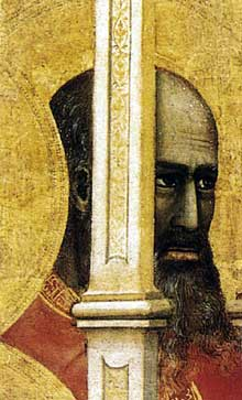 Giotto : La Madone «Ognissanti» (Maestà), détail. Vers 1310. Tempera sur bois, 325 x 204 cm. Florence, les Offices