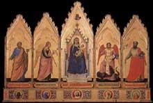 Giotto : Polyptyque. 1330-1335. Tempera sur bois, 91 x 340 cm. Bologne, Pinacothèque