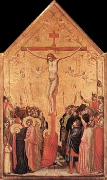 Giotto : Crucifixion. 1330s. Tempera sur bois, 58 x 33 cm. Berlin, Staatliche Museen