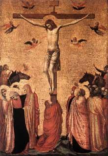 Giotto : Crucifixion. 1330s. Tempera sur bois, 39 x 26 cm. Strasbourg, Musée de l'œuvre Notre Dame