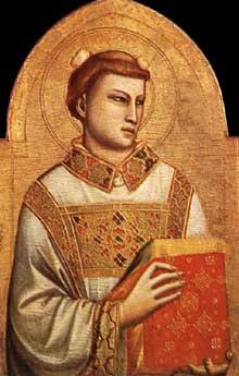 Giotto : Saint Etienne. 1320-1325.Tempera sur bois, 84 x 54 cm. Florence, Musée Horne