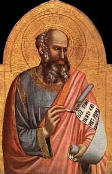 Giotto : Saint Jean l'Evangeliste. 1320-1325. Tempera sur bois, 81 x 55 cm. Châalis, Musée Jacquemart-André