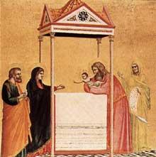 Giotto : Presentation au Temple. 1320-1325. Tempera sur bois, 44 x 43 cm. Boston, Isabella Stewart Gardner Museum