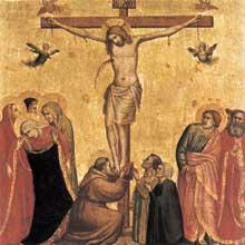 Giotto : Crucifixion. Tempera sur bois, 42,5 x 43 cm. Munich, Alte Pinakothek