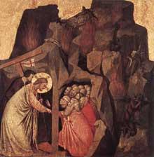 Giotto : Descente du Christ dans les limbes. Tempera sur bois, 42,5 x 43 cm. Munich, Alte Pinakothek