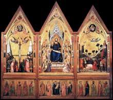 Giotto : Le triptyque Stefaneschi (recto). Vers 1330. Tempera sur panneau, 220 x 245 cm. Vatican, Pinacothèque