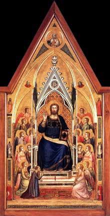 Giotto : Le triptyque Stefaneschi: le Christ en gloire. Vers 1330. Tempera sur panneau. Vatican, Pinacothèque