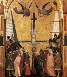 Giotto : Le triptyque Stefaneschi: le martyr de saint Pierre. Vers 1330. Tempera sur panneau. Vatican, Pinacothèque