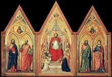 Giotto : Le triptyque Stefaneschi:verso. Vers 1330. Tempera sur panneau, 220 x 245 cm. Vatican, Pinacothèque