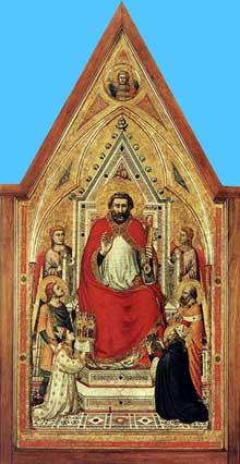 Giotto : Le triptyque Stefaneschi: saint Pierre trônant. Vers 1330. Tempera sur panneau. Vatican, Pinacothèque