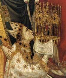 Giotto : Le triptyque Stefaneschi: saint Pierre trônant, détail. Vers 1330. Tempera sur panneau. Vatican, Pinacothèque