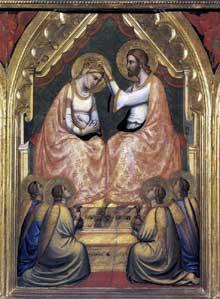 Giotto : Le polyptyque Baroncelli: le couronnement de la Vierge. Vers 1334. Tempera sur bois. Florence, Santa Croce, chapelle Baroncelli