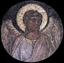 Giotto : Tondo avec ange. Vers 1310. Mosaïque, diamètre: 65,5 cm. Rome, San Pietro Ispano, Boville Ernica
