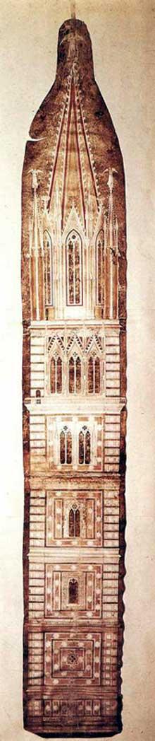 Giotto : Esquisse pour le Campanile. 1334. Parchemin. Florence, musée de l'œuvre du Dôme