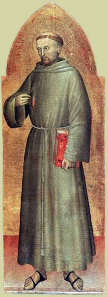 Giovanni da Milano (actif entre 1350 et 1369): Saint François d'Assise; vers 1360. Bois peint, 113 x 39 cm Musée du Louvre, Paris